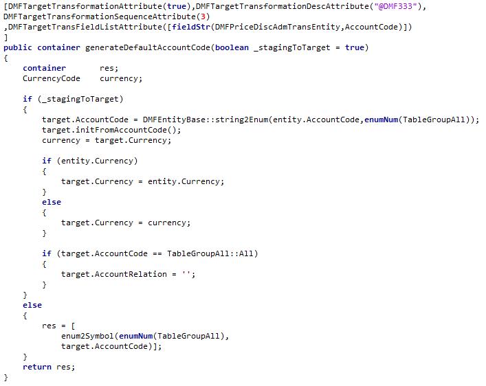 generate method for DefaultAccountCode